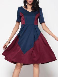 #BFCM #CyberMonday #Fashionmia - #Fashionmia Assorted Colors Designed V Neck Skater Dress - AdoreWe.com
