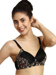 97179bf0046b6 Shyle Black Floral Printed Lace Everyday Bra