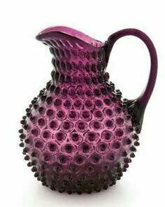 Hob-nailed Jug/Pitcher in Cranberry-coloured Glass ....