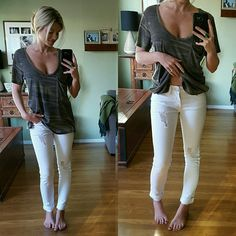 Destroyed White Denim Brand New, Tags Attached. Sizes 3, 5, & 7 available. These are Uber cute, Perfect in so many ways. True to size, if you want them a little loose, size up. I am normally a 25,modeling the 1. Slight destruction, still cute and classy.   99% Cotton 1% Spandex Jeans Skinny