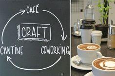 Pour boire de superbes cappuccinos façon bar hypster de Brooklyn, dans un lieu de « coworking ».   CAFÉ CRAFT 24 rue des Vinaigriers, Paris 10e Jacques Bonsergent 01 40 35 90 77