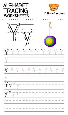 Alphabet Tracing Worksheets A-Z free Printable for Preschooler and Kindergartener. This Alphabet Tracing is a great activity for kids to practice letter recognition and handwriting skills. Printable letter Y tracing worksheet. Free Printable Alphabet Worksheets, Alphabet Tracing Worksheets, Tracing Letters, Phonics Worksheets, Alphabet Letters, Preschool Writing, Preschool Letters, Kindergarten Activities, Alphabet Writing Practice