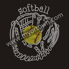 Bling Softball with Iron on Rhinestone Transfer Decal Material Iron-on  transfer Design Wholesale for t shirt 1a6953cc393a