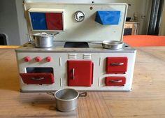 Vintage Toy Kitchen Set Tin Metal Germany By Hycatvintage