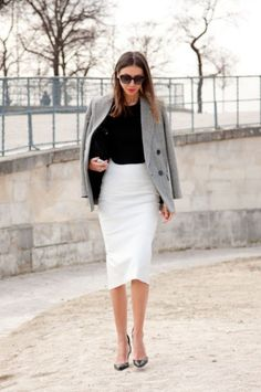 Pencil skirt /working time/ high heel/tailored coat