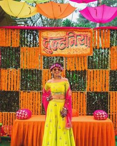 Off-Beat Indo-Western Mehendi Outfits Spotted On Real Brides! Marriage Decoration, Wedding Stage Decorations, Flower Decorations, Backdrop Decorations, Backdrops, Before Wedding, Wedding Prep, Wedding Events, Wedding Cars