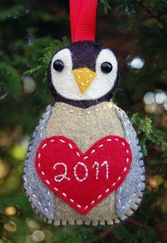 """Clover & Violet — """"Little Chick"""" Baby's Christmas Felt Penguin Ornament (Tutorial) Felt Christmas Decorations, Felt Christmas Ornaments, Handmade Christmas, Christmas Crafts, Christmas Ideas, Felt Ornaments Patterns, Penguin Ornaments, Ornament Crafts, Felt Diy"""