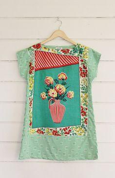 Upcycled Vintage Linen Tea Towel Tunic Dress XS Petite Womens Retro Flower Vase Print Floral Green White Stripes Red Mini Mod