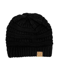 9456ad4bd57 Trendy Warm Chunky Soft Stretch Cable Knit Beanie Skully Black     More  info could