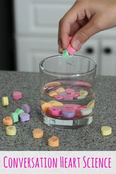 Science Experiment with candy hearts! after we count organize and graph them, we can do this!make predictions and check the results! Science Experiments Kids, Science Fair, Science For Kids, Science Projects, Fair Projects, Science Party, Science Lessons, Science Geek, Weird Science