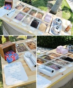 One of the coolest Sundae bars ever. totally sets the scene for an outdoor summer party. Create a menu with suggestions of recipes or combinations of ingredient options Ice Cream Station, Party Deco, Sundae Bar, Catering Display, Ice Cream Social, Food Stations, Icecream Bar, Ice Cream Party, Party Entertainment