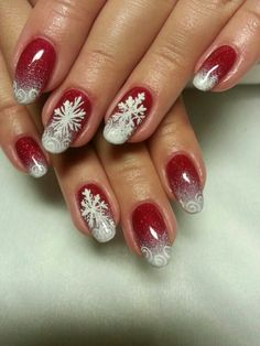 Winter nails with snowflake; red and white Christmas nails; cute and unique Christmas nails; Flower Nail Designs, Ombre Nail Designs, Christmas Nail Art Designs, Holiday Nail Art, Daisy Nail Art, Red Nail Art, Flower Nail Art, Xmas Nails, Christmas Nails