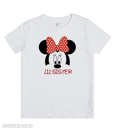 Minnie little sister See my other, matching, Mickey/Minnie family designs! Don't see what you're looking for? Just email me at Angela@myhearthasears.com Printed on Skreened Youth T-Shirt
