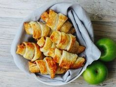 These easy homemade croissants are a great way to use up old apples without the full baking shenanigans of an apple pie. They are also an impressive 'warm suggestion' for your next morning tea.