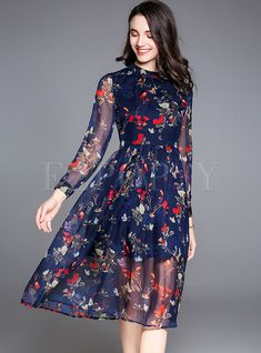Shop for high quality Floral Print Perspective Slim Skater Dress online at  cheap prices and discover c8200db7d