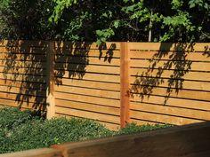 Horizontal cedar wood fence - 6' high