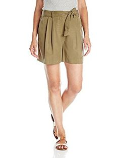 Women's Belted Shorts with Pleats, Grapeleaf, 0