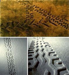 Tyre track embossed rug