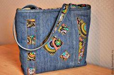 Купить Сумка джинсовая Июль - синий, орнамент, джинсовая сумка, сумка из ткани, сумка женская