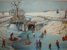 Winter skating scene at the Union Canal Tunnel Park, oil painting by local artist Bleistein.