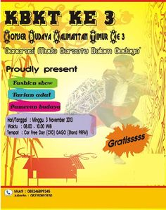 Konser Budaya Kalimantan Timur Ke 3 (KBKT 3) http://bit.ly/1conioe