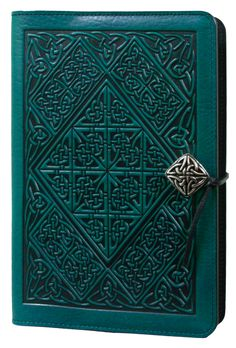 Leather Journal Cover | Diary | Celtic Diamond  in Teal