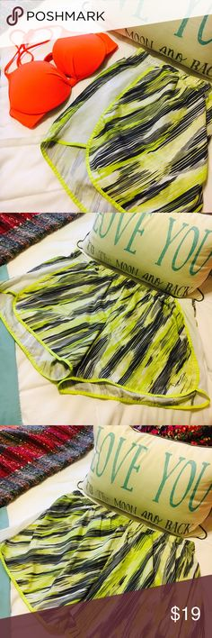 Athletic shorts neon yellow & black 🏃 Champion brand xxl athletic shorts !! Gently worn but great condition!! Champion Shorts Skorts