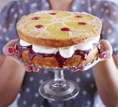 Pineapple & cherry upside-down sandwich cake