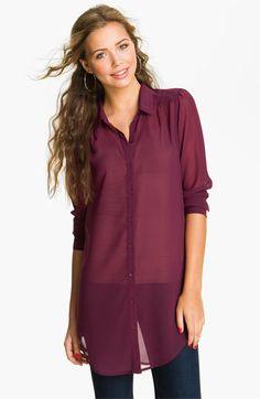 Frenchi® Chiffon Tunic Shirt (Juniors)   Nordstrom