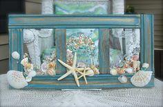 Beach Glass Art for Coastal Decor Beach Bathroom Decor made