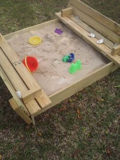 sandbox with benches. plans on this site. type in sandbox in their search box to find plans