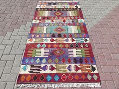 Anatolian Turkish Antalya Nomads Kilim x Area Rug Kelim Carpet Wool by RhythmOfTheRug on Etsy Turkish Kilim Rugs, Antalya, Bohemian Rug, Area Rugs, Carpet, Quilts, Blanket, Antiques, Etsy