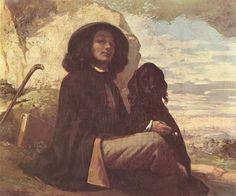 Gustave Courbet.  Selbstporträt mit schwarzem Hund.1842, Öl auf Leinwand, 46 × 56cm.Paris, Musée du Petit-Palais.Frankreich.Realismus.  KO 00198