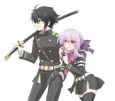 Owari no Seraph - yuu & Shinoa Vampires, Vocaloid, Shinoa Hiiragi, Fanart, Mikaela Hyakuya, Cute Couple Art, Cute Anime Pics, Seraph Of The End, Owari No Seraph