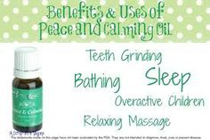 Our Favorite Ways to Use Peace and Calming!!  1. Rub 1-2 drops of Peace & Calming oil on the bottom of the feet and on the shoulders before bedtime to get good quality sleep.  2. Diffuse in the room to calm overactive or hard to manage children or pets.  3. Mix with massage oil for a relaxing massage.  4. Mix with Bath Gel Base or Epsom salts in warm water for a relaxing bath.  5. To help stop nocturnal teeth grinding, diffuse while sleeping.  6. Over the throat when coughing.