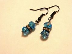Black and Blue dangle earring by gr8byz on Etsy, $9.00