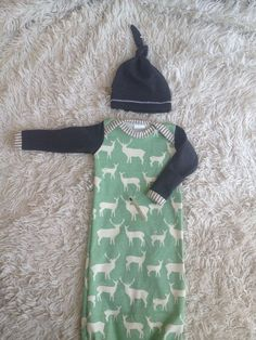 Organic newborn boy coming home outfit Deer print and by Londinlux - Picmia