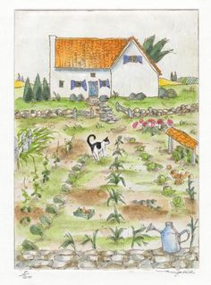 """Farm Cat""  by mie takase  / etching & water color"