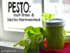 Pesto: Nut-Free and Fermented + 3 Recipes | Ahhhh, pesto. It's so simple, yet adds such complexity to hot or cold dishes. It has so few ingredients and takes so little time to make. In the case of this pesto, it's nut-free and also packs a powerful probiotic punch. | GNOWFGLINS.com