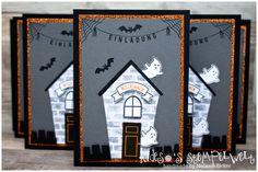 Einladung zum Kindergeburtstag zum Thema Halloween mit dem Stempelset Ein Haus für alle Fälle von Stampin' Up!