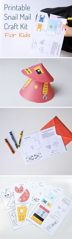 Love this fun snail mail idea! Send a craft kit in the mail with this set of printable crafts for kids. Includes two robot papercrafts, a rocket, and a game.