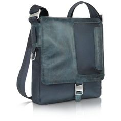 Piquadro Frame - Nylon and Leather Messenger Bag