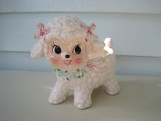 Vintage Ceramic Lamb Planter, Cute Kitsch for Newborns and Babies, Cute Animals
