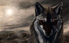 Brown and white wolf illustration wallpaper, artwork, digital art, animals