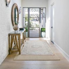 Entryway ideas modern entryway ideas modern 7 elements of the modern farmhouse entry with painted white brick wall steel modern entryway ideas for small Modern Ranch, Modern Farmhouse Style, Farmhouse Design, Modern Entryway, Entryway Decor, Entryway Ideas, Entry Hallway, Entry Doors, Entrance