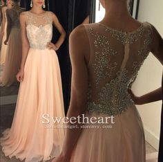 Pink sequin chiffon pink long prom dress 2016, unique cute long sequin evening dress for teens, modest prom dress #prom #promdress #cute #coniefox #2016prom