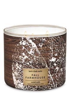 Fall Farmhouse Candle by Bath & Body Works Fall Farmhouse Candle - Bath And Body Works Bath Candles, Oil Candles, 3 Wick Candles, Scented Candles, Candle Jars, Bath N Body Works, Bath And Body, Farmhouse Candles, Solid Perfume