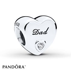 Celebrate your dad with this pretty charm from the PANDORA Autumn 2017 collection in sterling silver, signed with a heart-shaped cubic zirconia. The perfect gift from father to daughter to proudly show their love. Style # 796458CZ.