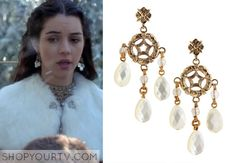 Mary Queen of Scots (Adelaide Kane) wore these engraved bronze metal earrings with freshwater pearl briolettes in multiple episodes of Reign...