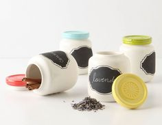 Love these chalkboard spice jars from Anthropologie. Probably be easy to make with chalkboard paint.